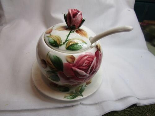 Lefton Americana rose Jam pot