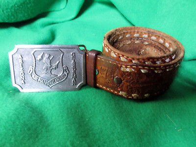 Arizona Guardsman Air National Guard Belt Buckle &Tooled Leather Belt.