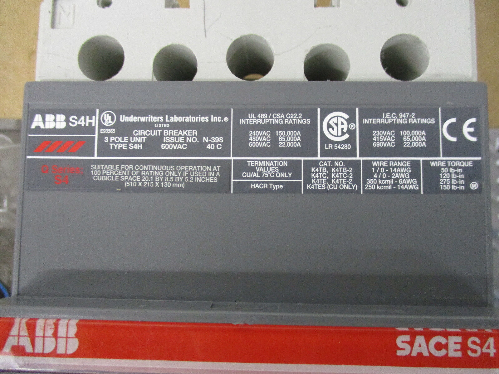 Abb S4h 3 Pole 600 Volt W Pr211 250 Amp Trip Circuit Breaker How Do Shunt Breakers Work Of 5