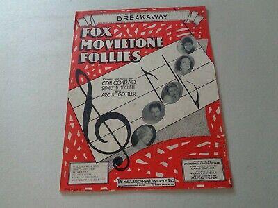"1929 ""BREAKAWAY"" by Conrad,Mitchell andGottler SHEET MUSIC"