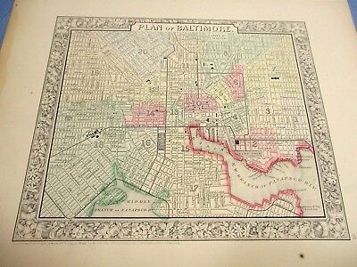 1865 Colored Map - BALTIMORE - Civil War Year, Inner Harbor, Mt Clare Station