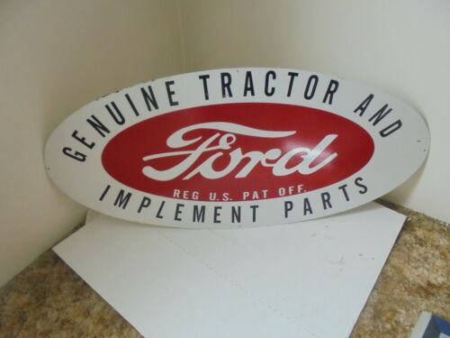 "48"" X 22"" metal sign ford genuine tractor & implement parts farm business decor"