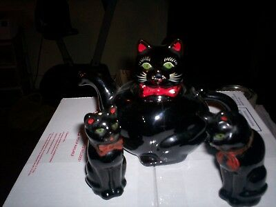 Vintage SHAFFORD Black Cat TEA POT & Salt & Pepper Shakers JAPAN