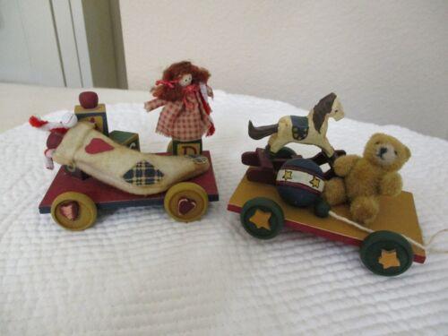 Vintage Wood Christmas Ornaments Pull Cart Wagon w/Toys: Doll, Bear, Horse