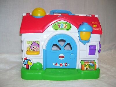 Fisher Price ABC & 123 MUSICAL SOUNDS SCHOOL HOUSE INTERACTIVE LEARNING TOY 10""