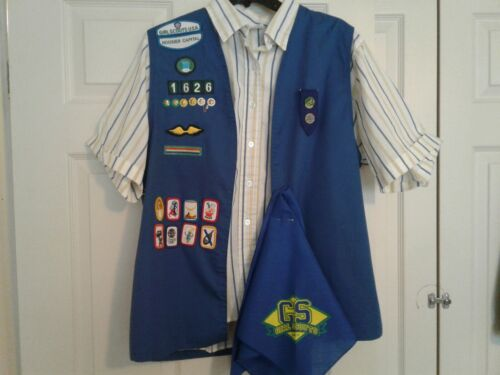Vintage 1990s Cadette Vest w/Badges, Patches and Pins, Blouse and Scarf
