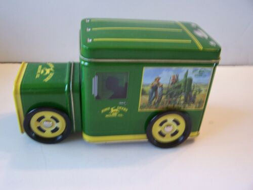 JOHN DEERE TIN BOXES   DELIVERY TRUCK  with ROLLING WHEELS