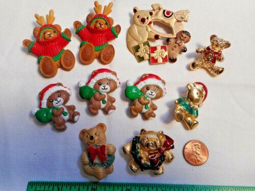 Vtg CUTE TEDDY BEARS 10 Brooches Russ & Hallmark Resin &Metal Christmas PIN LOT