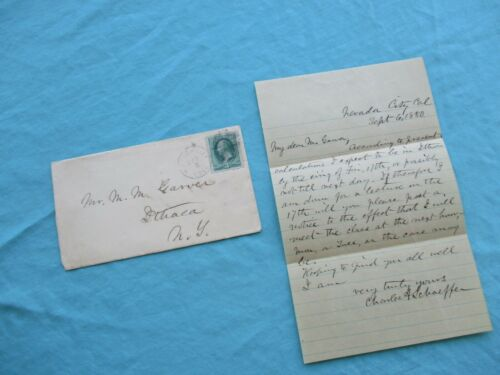 1880 Nevada City,California C.A.Schaeffer Signed to Ithaca,N.Y.,Garver family