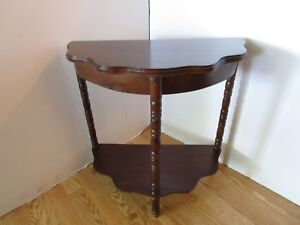 Antique Half-moon hall table entryway console 2 tier scalloped Traditional 22