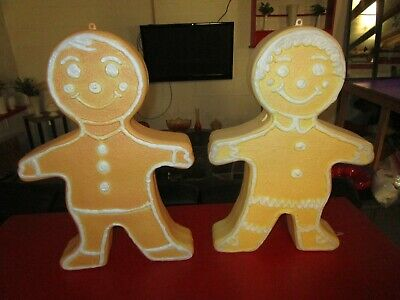 "2 VINTAGE 24"" UNION GINGERBREAD MAN / WOMEN CHRISTMAS BLOW MOLD DOUBLE SIDED"
