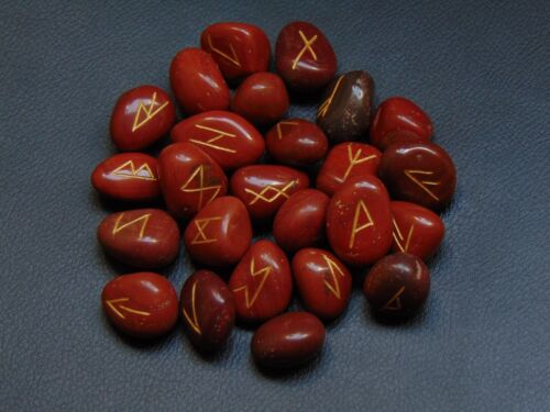 Red Jasper Stone Rune Set Symbols Gemstone Healing Crystal Runes 25 Pieces