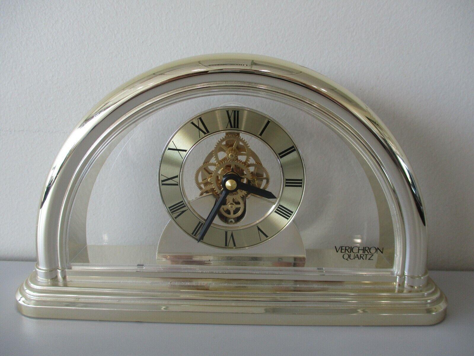 "Verichron Quartz Mantel Clock With Skeleton Movement 9.5"" X 5.5"" Gold Plastic"