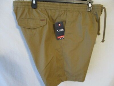 Chaps 100% Cotton  Brown Elastic Waist Pull on Poplin Casual Shorts SR$45  NEW
