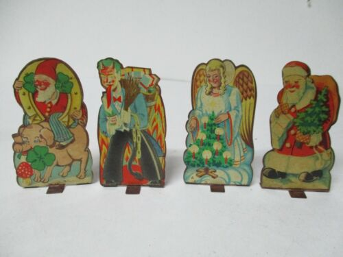 4 MUSTERSCHULTZ Germany Tin Litho Christmas Figures - Krampus Santa Angel