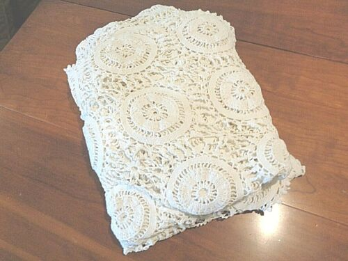 Antique hand Crochet tablecloth White