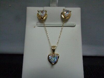 10k yellow gold mystic rainbow topaz heart pendant and earring set