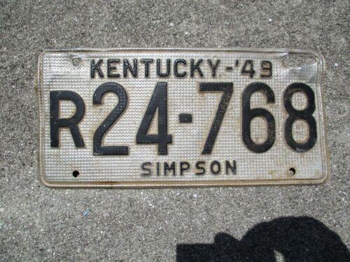 "Kentucky 1949 ""waffle"" license plate #  r 24 - 768"