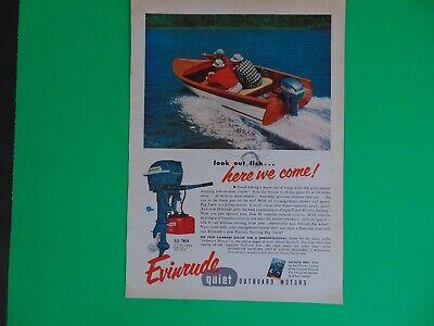 1954 EVINRUDE QUIET OUTBOARD MOTORS Speeding Boat vintage art print ad