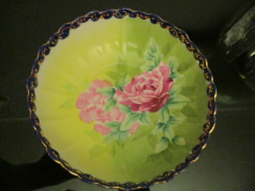 Antique Nippon Hand Painted Large Pink Roses Cobalt Gold Gilt Centerpiece Bowl!