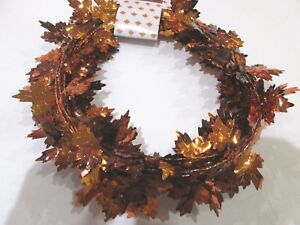 Fall Thanksgiving Small Maple Foil Leaf Garland Brown Orange Decor 25FT