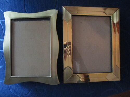 """Two Gold Tone Metal Frames Openings 4-1/2"""" x 6-1/2"""" Photo Frame Velvet Easel"""