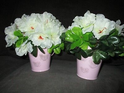 Pink Wedding Centerpieces (Artificial White Pink Flowers Gold Buckets Wedding Party Set of 2 Centerpieces)