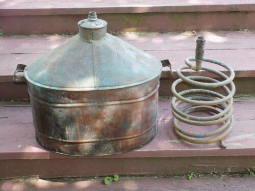 Vintage Copper Moonshine Boiler w/ Screw Top and Coil