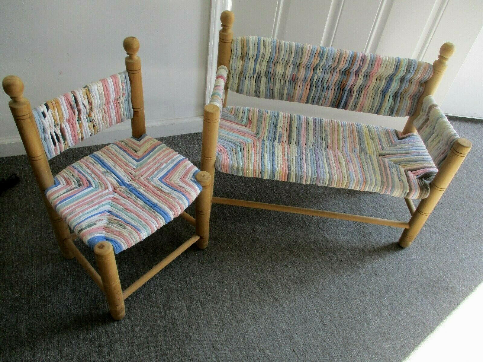 Kids Children's Wooden Loveseat and Chair Set~ Coiled Fabric Rag-Weave Seats