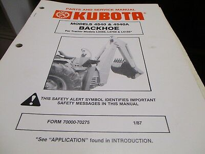 Kubota 4540 4540a Backhoe Parts Service Manual L3350 3750 4150