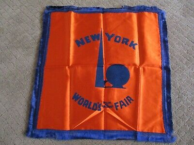 1939 NY World's Fair Satin Rayon Pillowcase Orange w/Blue Fringe Excellent Cond