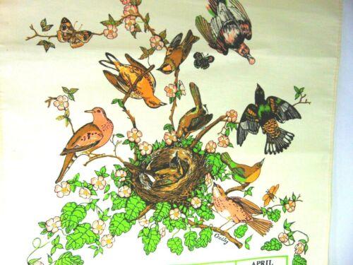 Vintage 1983 Fabric Linen Cloth Wall Hanging Calendar Birds Nest Kitchen Wall