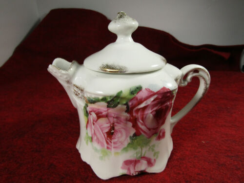 Antique German Creamer with Lid Hand Painted Roses with Gilt Trim