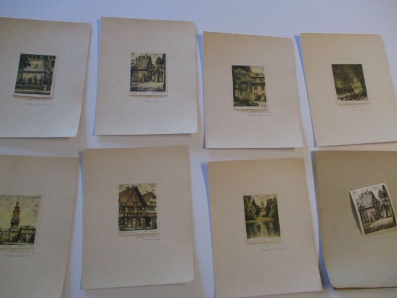 COLLECTION OF 8 SMALL ETCHINGS SMALL GEM LANDSCAPE HISTORIC SIGNED VINTAGE