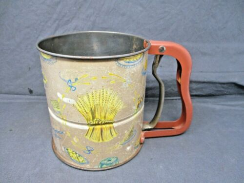Vintage Androck Hand-i-Sift 3 Screen Flour Sifter Wheat Pattern