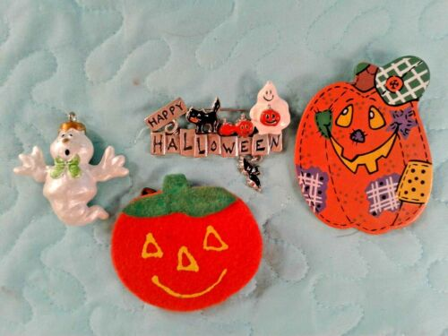 3 HALLOWEEN PINS & 1 SMALL GHOST ORNAMENT Happy Halloween Ghost Jack O Lanterns
