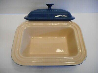 Le Creuset Deep Dish Bread Pan Meatloaf Rectangular Casserole w Lid Blue Rectangular Dish Pan