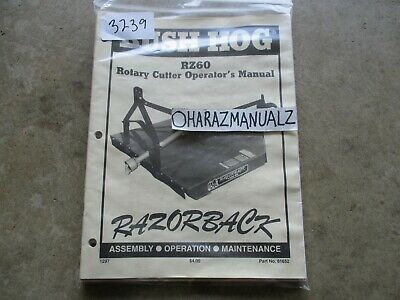 Bush Hog Rz60 Rotary Cutter Operators Assemply Manitenance Manual
