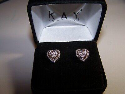 NEW KAY JEWELERS  DIAMOND HEART DESIGN 1/20TCW  STERLING SILVER POST EARRINGS -