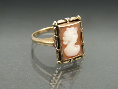 10k Gold Cameo Ring Carved Shell Size 6