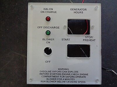BOAT PANEL WITH HALON CHARGE DISCHARGE, GENERATOR HOURS START STOP/PREHEAT