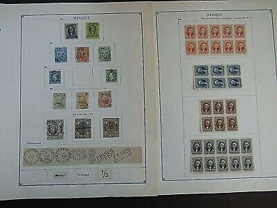 MEXICO - FINE COLLECTION OF EARLY FOURNIER FORGERIES ON ORIGINAL PAGES