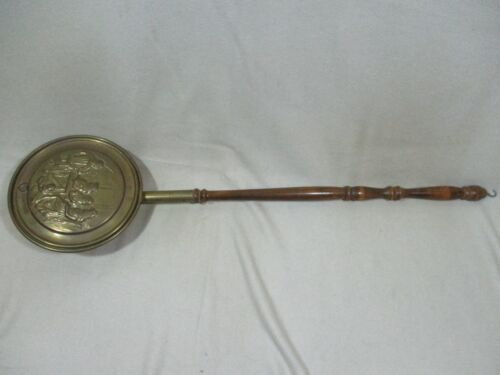 """Vintage Peerage Brass Decorative Bed Warmer Made in England 38"""" Embossed Family"""