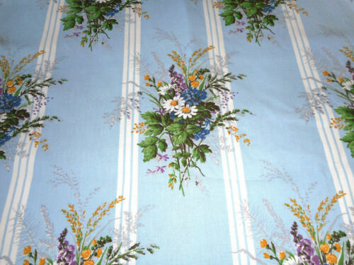 Vintage French Daisy Floral Stripe Cotton Fabric ~ Sky Blue Yellow Green Purple
