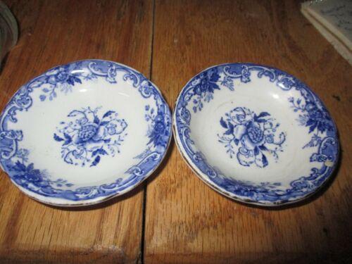LOT OF 2 JOHN MADDOCK ROYAL Antique English Flow Blue Butter Pat C.1880-1896