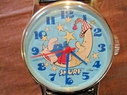 Vintage Wall Clock Oversized SMURF Wristwatch, 1984,WORKING