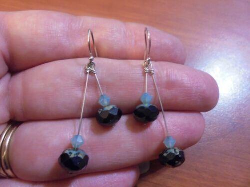 Vtg Sterling silver light blue and black crystal dangle hook earrings 3.1 grams