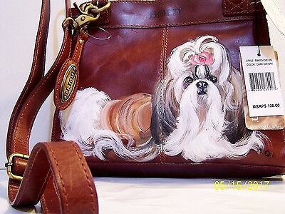Shih Tzu  original hand painted BORN genuine natural leather handbag art