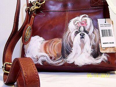 Shih Tzu  original hand painted BORN genuine natural leather handbag art