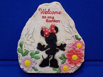 Welcome to My Garden Minnie Mouse Rock Walt Disney Resin Door Stopper Sign Pink